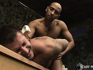 Sexy black Army Officer face fucks and barebacks a soldier amateur (gay) gays (gay) muscle (gay)