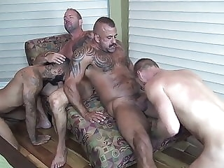 Hot Foursome gay porn (gay) bareback (gay) daddy (gay)
