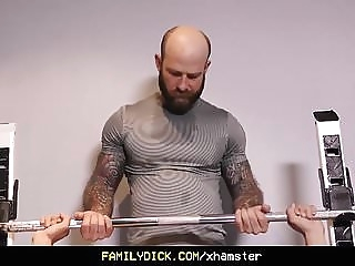 FamilyDick - Older tattooed muscle daddy coaches virgin step bareback (gay) blowjob (gay) daddy (gay)