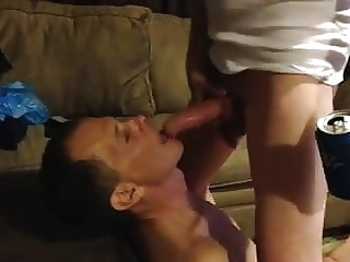 Verbal Top Facefucks Slave while friends watch gay porn (gay) bdsm (gay) big cock (gay)