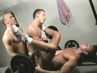Horny he-men give their cocks a workout in a gay threesome at the gym bareback (gay) blowjob (gay) gays (gay)