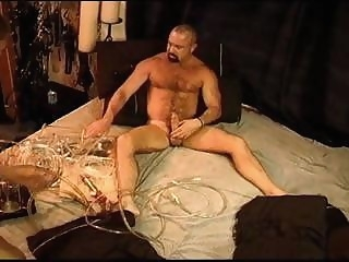 Dual high suction vacuum pump device used by bear with his amateur (gay) daddies (gay) gays (gay)